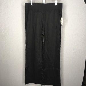 Allen Allen Black Linen Blend Straight Leg Pants